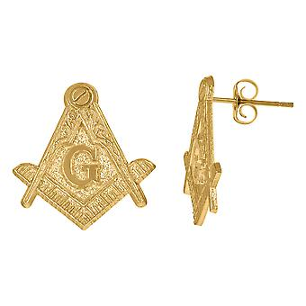 10k Yellow Gold Mens Occupation Masonic Stud Earrings Jewelry Gifts for Men - 2.2 Grams