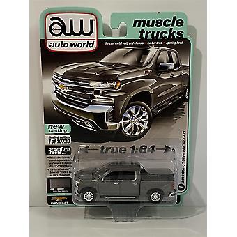 2019 Chevrolet Silverado LTZ Z71 Satin Steel Metallic 1:64 Auto World AW64282A
