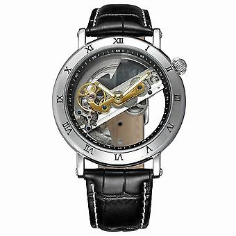 Haiywell Luxury Hollow Automatic Mechanical Men's Watch Stainless Steel/leather