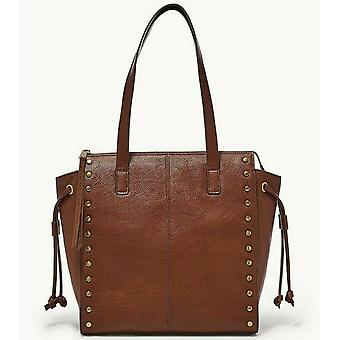 Fossil Brooklyn Shopper Brown Leather Studded Tote SHB2671213