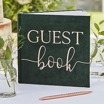 Green Velvet Wedding Guest Book |  Rose Gold Botanical Party Decorations