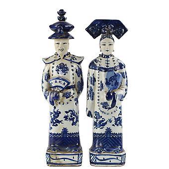 Grzywny Asianliving chińskie posągi Niebieski Biały Porcelanowy Cesarzowa Set / 2 Ręcznie
