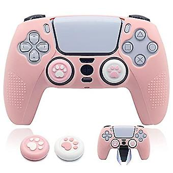 Ps5 Controller Skin Dockable Kawaii Accessories Silicone Grip Cover Case Set For Playstation 5 Gamepad Joystick With 2 Cute Cat Claw Thumb Caps (pink)