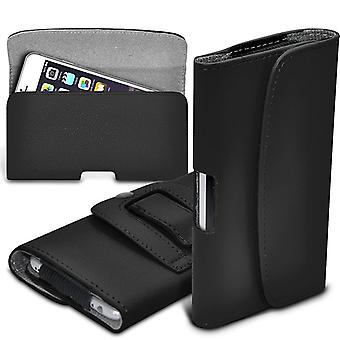 (Black) BLU Grand X Case Horizontal PU Leather Belt Holster Pouch Cover Case