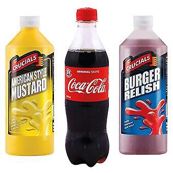 Kit fattoria sette alberi con 3 prodotti   1 x Coca Cola, 1 x Burger Relish 500ml, 1 x American Style Mustard 500ml, Goditi sapori deliziosi e rinfresca con una cola!