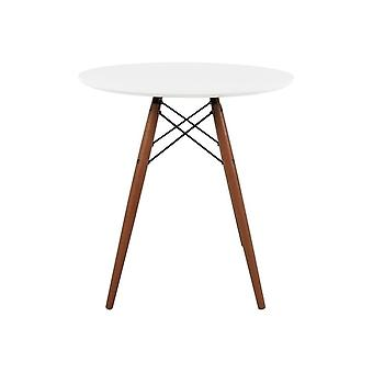 Fusion Living Eiffel Inspired Set – Small White Circular Dining Table With Walnut Wood Legs With Three Chairs - Various Colours