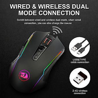 2.4G الماوس الألعاب اللاسلكية 8000 نقطة في البوصة 10 أزرار قابلة للبرمجة مريح للاعبين الفئران كمبيوتر محمول