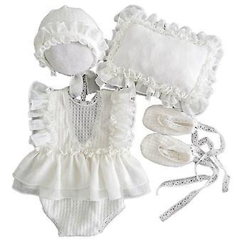 5pcs Baby Lace Dress+hat+pillow+shorts+shoes Set