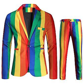 Homemiyn Mäns Randiga Regnbågsfärg Kombination En Knapp Tvådelad Kostym (jacka + Byxor)