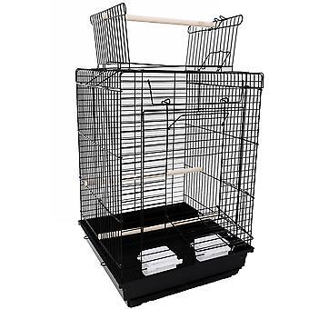 """23"""" ציפור כלוב חיית המחמד מספקת כלוב מתכת עם משחק פתוח עם גרירת צעצועים נוספים שחור"""