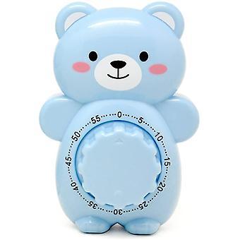 Lindo cartoon bear temporizadores 60 minutos mecánico cocina cocina temporizador reloj de alarma ruidosa contadores de alarma temporizador manual (azul)