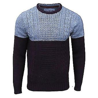 Soul Star Men's Pepper Crew Neck Cable Knit Two Tone Jumper