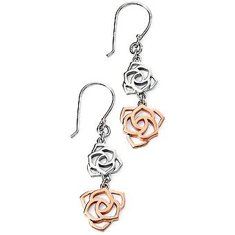 925 Silver Rose Gold Plated Flower Trend Earring
