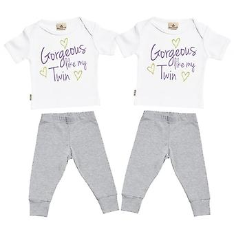 Spoilt Rotten Gorgeous Like My Twin Baby T-Shirt & Baby Jersey Trousers Twins Outfit Set