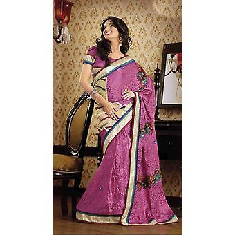 Daksha luz rosa falso Crepe lujo partido desgaste Sari sari
