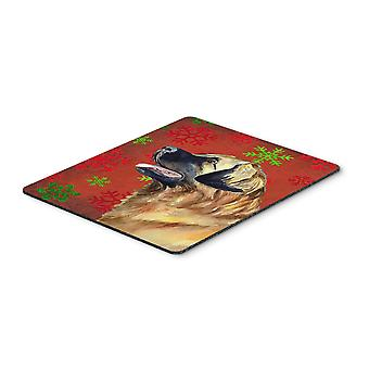Leonberger Red and Green Snowflakes Christmas Mouse Pad, Hot Pad or Trivet