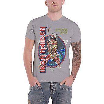 Logotipo de vindima da banda Iron Maiden T camisa Somewhere In Time oficial Mens Grey