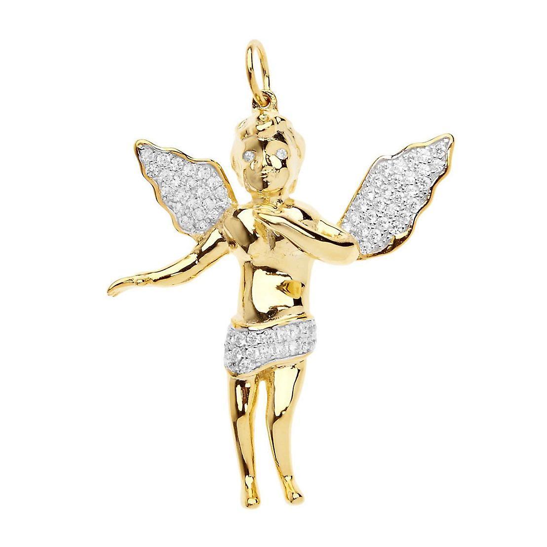 Premium Bling - 925 Sterling Silber Engel Anhänger gold