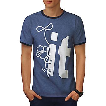 Schrauben Sie ihn Männer Heather blau / NavyRinger T-shirt | Wellcoda