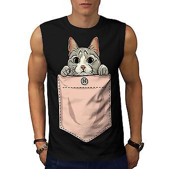 Pocket Cute Kitty Cat Men BlackSleeveless T-shirt | Wellcoda