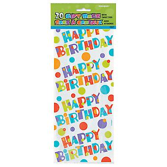 Unique Party Bubbly Birthday Cello Bags (Pack Of 20)