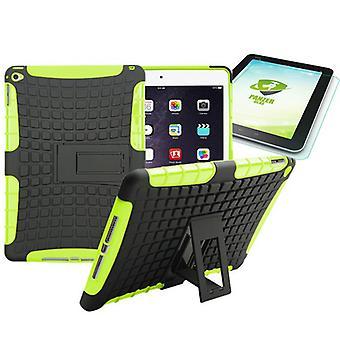 Υβριδική εξωτερική προστατευτική θήκη πράσινο για iPad Air 2 περίπτωση + 0,4 H9 σκληρυμένο γυαλί