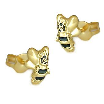 Earrings gold 375 children's jewellery earrings gold children plug, bee 9 KT GOLD