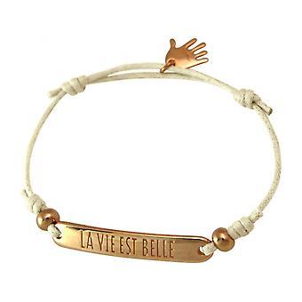 Mulheres nuas - pulseira - gravado - LA VIE EST BELLE - ouro rosa - chapeado