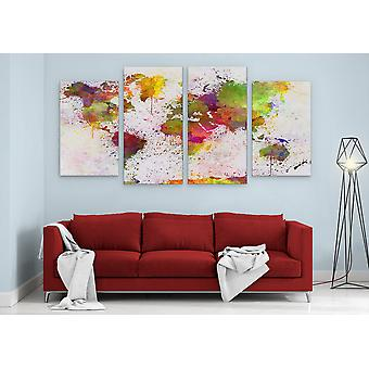 Large A1 A2 A3 Panel Panoramic Canvas Wall Art Painting of World Map City Scape for your Living Room Canvas Prints - Pictures