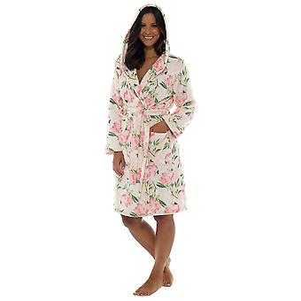 Wolf & Harte Womens Blumendruck Hooded Fleece-Morgenmantel