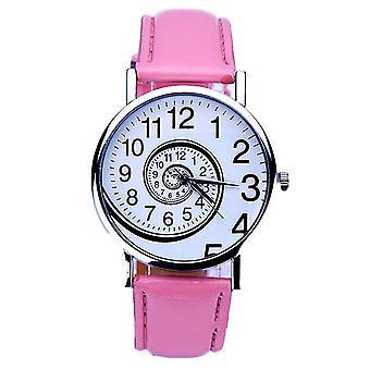 レディース時計回転スピン アナログ時計ギフト現在イギリスを移動ピンクの白い時間