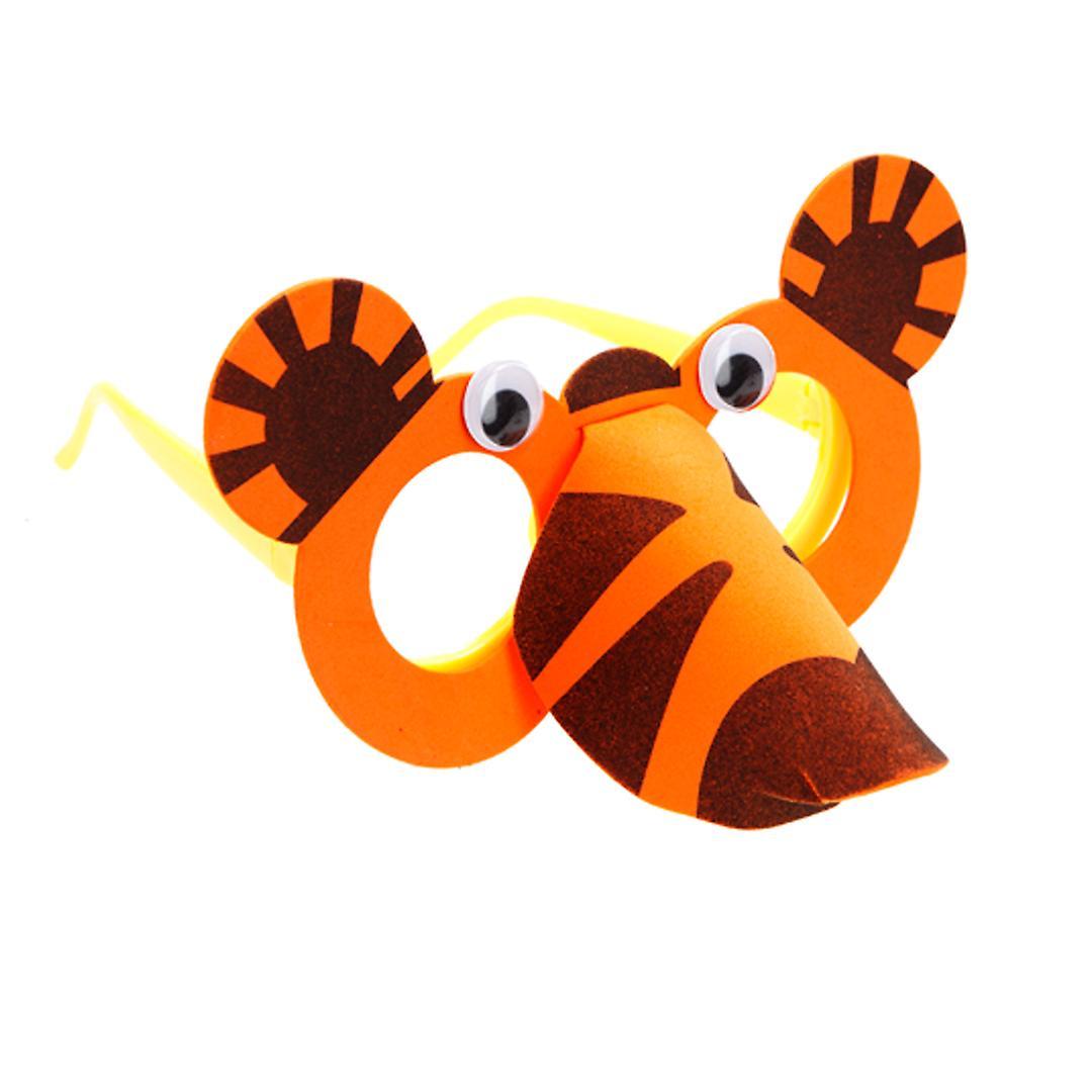 TRIXES Orange Tiger Foam Arts and Crafts Glasses Kit