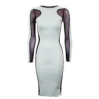 Ladies pianura contrasto maglia inserto Dress pianura dimagrante effetto Womens Dress