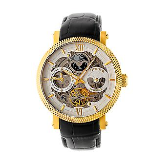Heritor Automatic Aries Skeleton Leather-Band Watch - Black/Gold