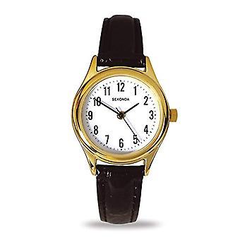 Sekonda wristwatch, female, leather, Black