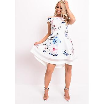 Floral Print Bardot Dress Dip Hem Mesh Panel White