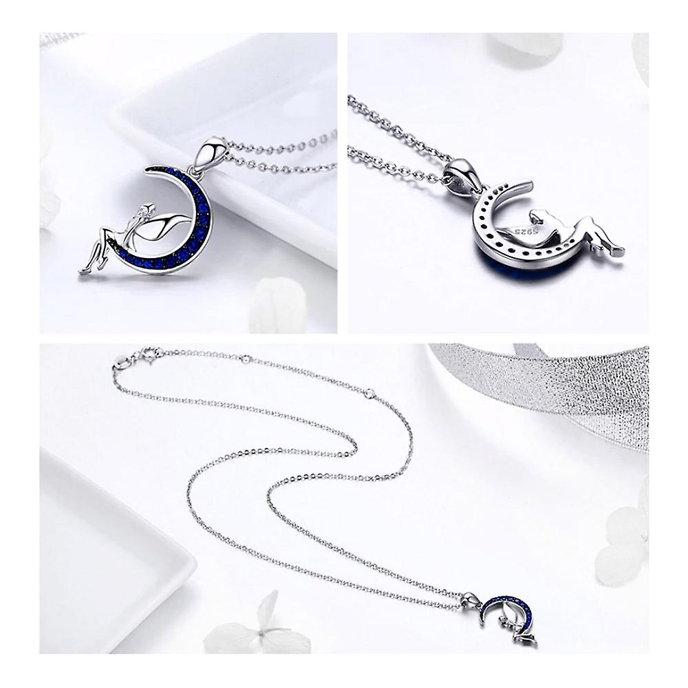 Fairy and Moon pendant adorned with blue and silver Swarovski Crystal 925 8086