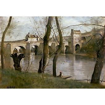 A ponte de Mantes, Camille corot, 60x40cm