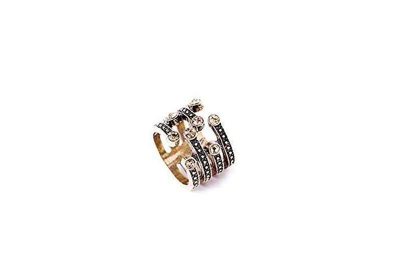 Statement Open Rhinestone Disconnect Band Ring