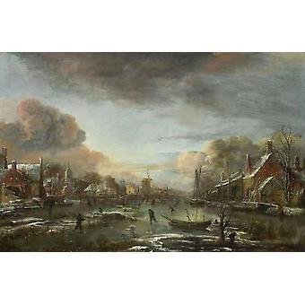 נהר קפוא על ידי עיר בערב, Aert ואן דר ניל, 60x40 ס מ
