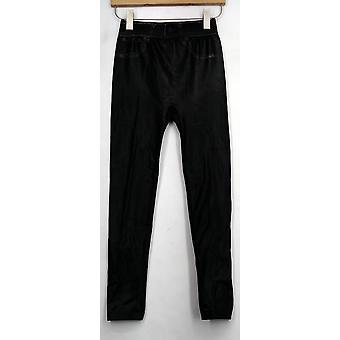 Slim 'N Lift Leggings Leather Look Pull On Slim Leg Leggings Black S420430