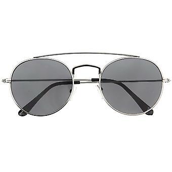 Classic Full Metal Double Bridge Crossbar Flat Lens Round Aviator Sunglasses 54mm