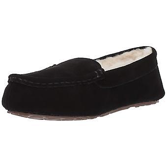 Amazon Essentials Women's Leather Moccasin Slipper, Black, 9 M US
