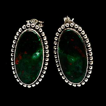 Chrysocolla 925 Sterling Silver Earrings 1 1/4