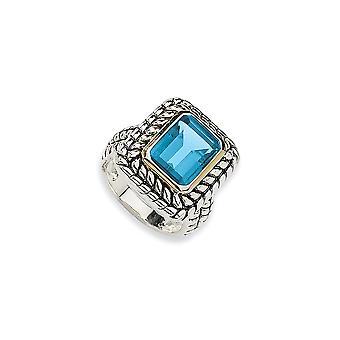 925 Sterling Silver finish med 14k 9.93Swiss Blue Topaz Ring Storlek 6 Smycken Gåvor för kvinnor