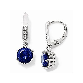 925 Sterling Silver Simulerad Leverback Rhodium pläterad Cubic Zirconia Syntetiskblå Spinel Long Drop Dangle Örhängen Je