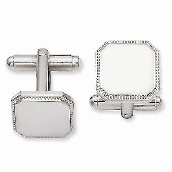 Solide poliertE Geschenk Boxed Gravierbar (vorne nur) Rhodium vergoldet Quadratische Perlen Manschettenknöpfe Schmuck Geschenke für Männer