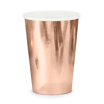 6 Metallic Rose Gold Paper Party Cups - 220ml