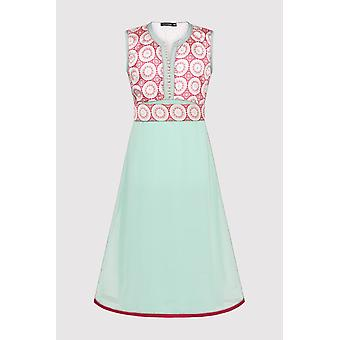 Kaftan afsana girl's occasion wear party dress and waist belt in green and salmon (2-12yrs)