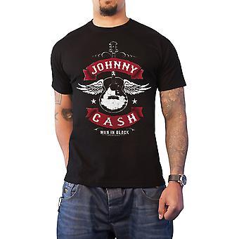 Johnny Cash T Shirt Winged Guitar man in black logo new Official Mens Black
